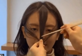Lia đúng một đường kéo có ngay kiểu mái thưa với mai dài xinh chuẩn Hàn