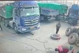 Lốp xe phát nổ kinh hoàng khiến nam công nhân suýt mất mạng