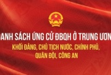 Danh sách ứng cử ĐBQH ở trung ương khối Đảng, Chủ tịch nước, Chính phủ, công an, quân đội